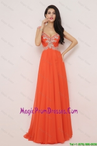 Amazing Brush Train Prom Dresses with High Slit and Beading