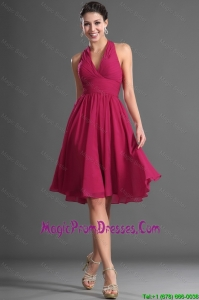 Beautiful Halter Top Wine Red Short Prom Dress with Ruching