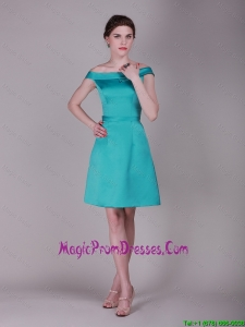 Elegant Off the Shoulder Belt Short Prom Dresses in Turquoise