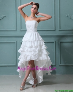 Romantic Ruffled Layers White Prom Gowns with High Low