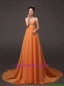 Popular Court Train Prom Gown with Beading and Ruching