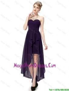 Romantic High Low Sweetheart Purple Prom Dresses with Ruching