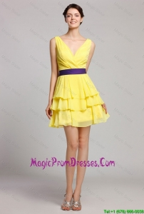 Best Selling Short V Neck Ruffled Layers Prom Gown in Yellow