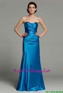 Elegant Column Sweetheart Teal Prom Dresses with Zipper Up