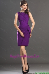 Great Column Bateau Beaded Prom Dresses in Purple