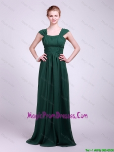 Hot Sale Straps Brush Train Prom Dresses in Dark Green