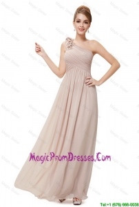 Lovely Ruched Champagne Prom Dresses with One Shoulder