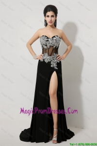 Luxurious Beaded and High Slit Prom Dresses in Black