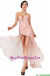 New Arrivals Side Zipper Ruched Prom Dresses with Asymmetrical