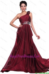 New Arrivals Wine Red Long Prom Dress with Beading and Hand Made Flowers