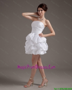 New Style Short Strapless White Prom Gowns with Pick Ups