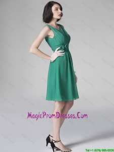 Popular Scoop Green Prom Dresses with Hand Made Flowers