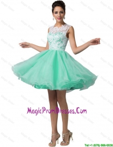 Pretty Laced Scoop A Line Prom Dresses in Apple Green