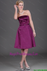 Pretty Strapless Eggplant Purple Prom Dresses with Belt