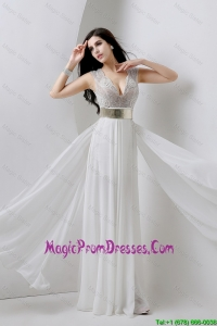 Beautiful Empire V Neck White Prom Dresses with Beading and Belt