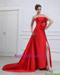 Beautiful Straples Beading and Bowknot Red Prom Dresses with Brush Train