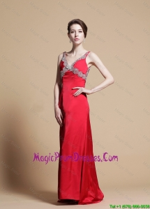 Exclusive Empire V Neck Beaded Prom Dresses with Watteau Train
