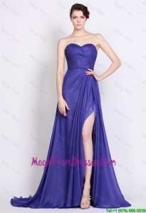 Exclusive Sweetheart High Slit Prom Dresses in Royal Blue