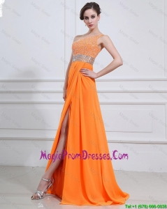 Inexpensive Beading and High Slit Orange Prom Dresses with Brush Train