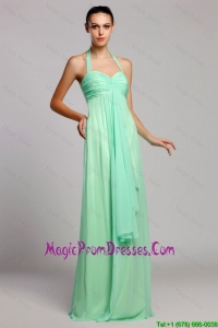 Latest Halter Top Brush Train Prom Dresses with Ruching