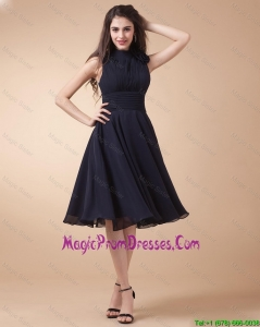 Lovely High Neck Hand Made Flowers Prom Gowns in Navy Blue