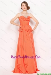 New Arrivals Beaded Brush Train Prom Dresses in Orange Red