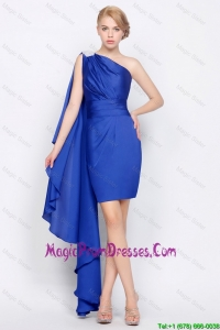 New Arrivals Column One Shoulder Beaded Prom Gowns in Royal Blue