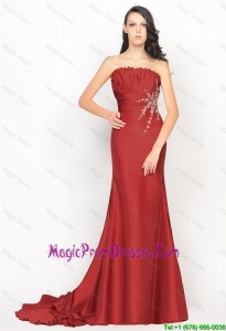 Pretty Column Strapless Rust Red Prom Dresses with Brush Train