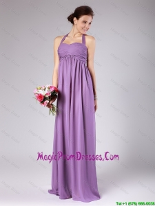 Beautiful Halter Top Ruched Prom Gowns with Brush Train