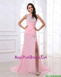 Perfect Column Brush Train Prom Dresses with High Slit and Beading