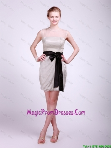 Pretty Column Grey Prom Dresses with Sash and Ruching