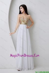 Wonderful Empire Sequined White Prom Dresses with Beading