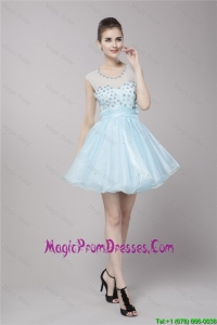 Fashionable Scoop Light Blue Prom Dresses with Beading
