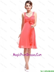 Perfect Straps Watermelon Red Prom Dresses with Hand Made Flowers