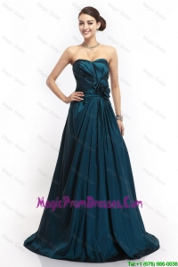 Pretty Sweetheart Hand Made Flowers Prom Dresses in Navy Blue
