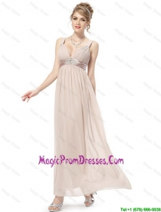Romantic Straps Ankle Length Prom Dresses in Champagne