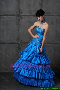 Cheap A Line Sweetheart Prom Dresses with Ruffled Layers