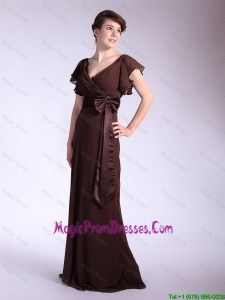Cheap Belt and Bowknot Brown Prom Dresses with Brush Train