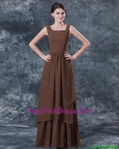 Cheap Straps Brown Prom Dresses with Ruching