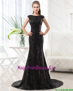 Perfect Column Bateau Brush Train Sequins Prom Dresses in Black