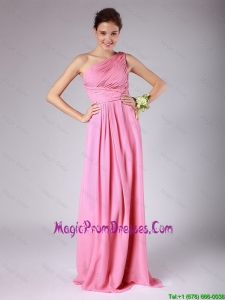 Romantic Empire One Shoulder Rose Pink Prom Dresses with Ruching