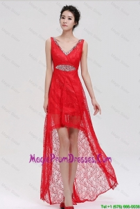 Romantic V Neck Laced and Beaded Red Prom Dresses with High Low
