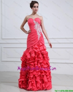 2016 Pretty Appliques and Ruffles Mermaid Prom Dress