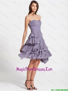 Affordable Short Ruffled Layers Lavender Prom Dresses