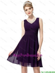 Simple V Neck Dark Purple Prom Dresses with Ruching