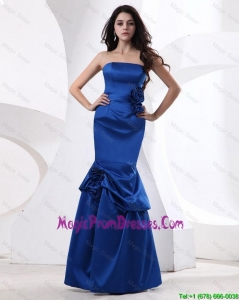 Cheap Mermaid Hand Made Flowers Prom Gowns in Royal Blue