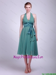 Discount Halter Top Short Turquoise Prom Dresses with Ribbons