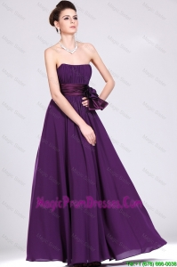 Fashionable Strapless Prom Dresses with Ruching and Bowknot