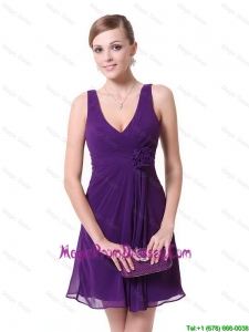 Perfect Short V Neck Prom Dresses with Hand Made Flowers