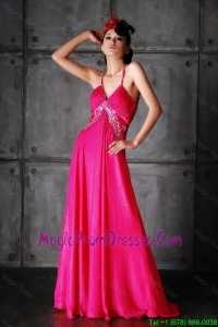 Pretty Empire Spaghetti Straps Criss Cross Prom Dresses with Beading